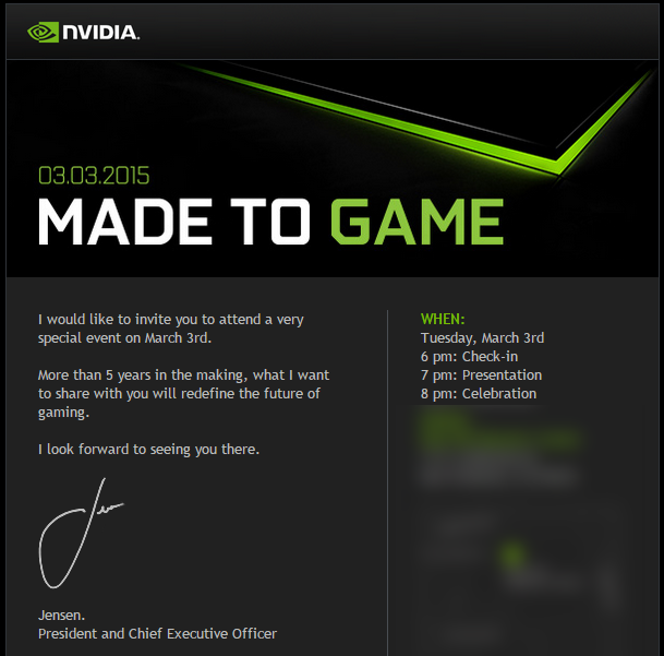 Nvidia sends press invitations to march 3rd event teasing a invite stopboris Images