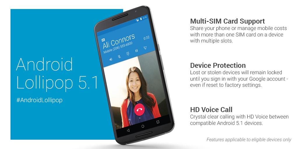 Google anuncia oficialmente o Android 5.1 1