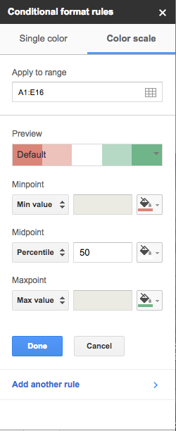 how to add gradients in google sheets