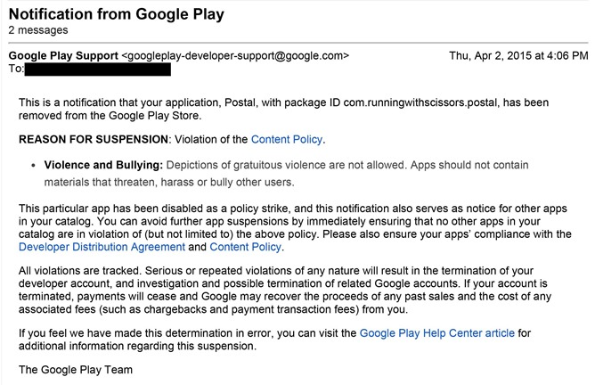 Google Play Rejection