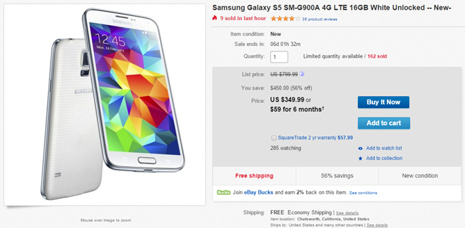 huge selection of 6a116 4c77b Deal Alert] eBay Has A New Off-Contract AT&T Samsung Galaxy S5 For ...