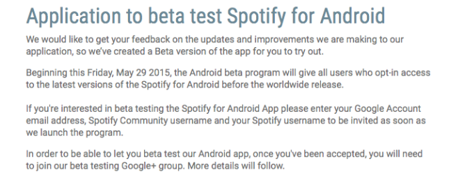 Application_to_beta_test_Spotify_for_Android
