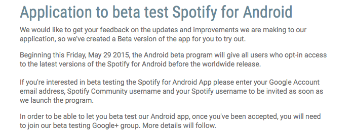 spotify has launched a beta testing program for android application