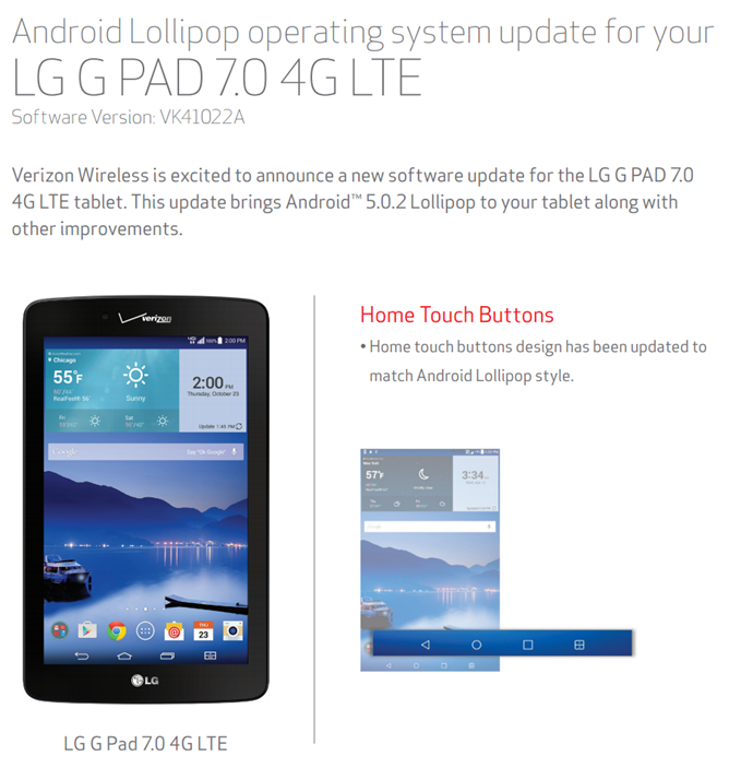 Verizon's LG G Pad 7.0 Gets Its Lollipop Over-The-Air Update