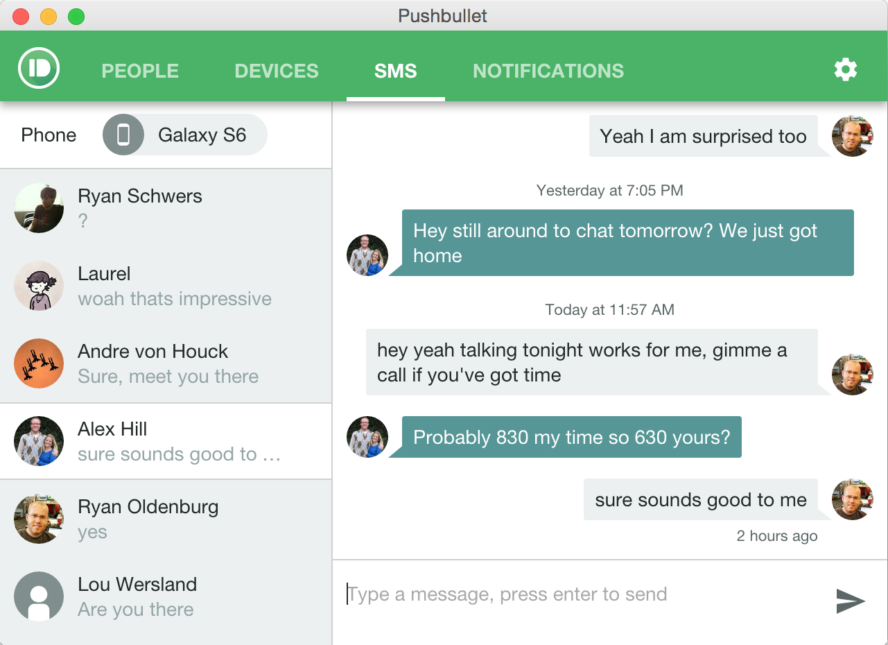 Pushbullet-the App Now Supports Full SMS Conversations