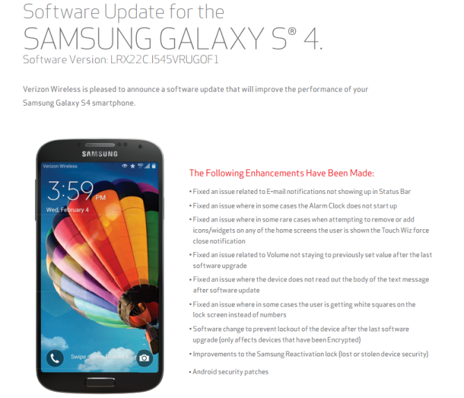 Verizon Pushing OTA To The Samsung Galaxy S4 With