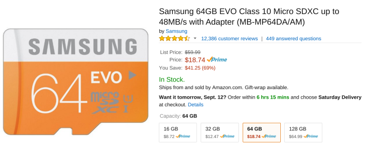 [Update: Now Just $17.57] [Deal Alert] Samsung's 64GB EVO MicroSD Card Is A Crazy Low $18.74 ...