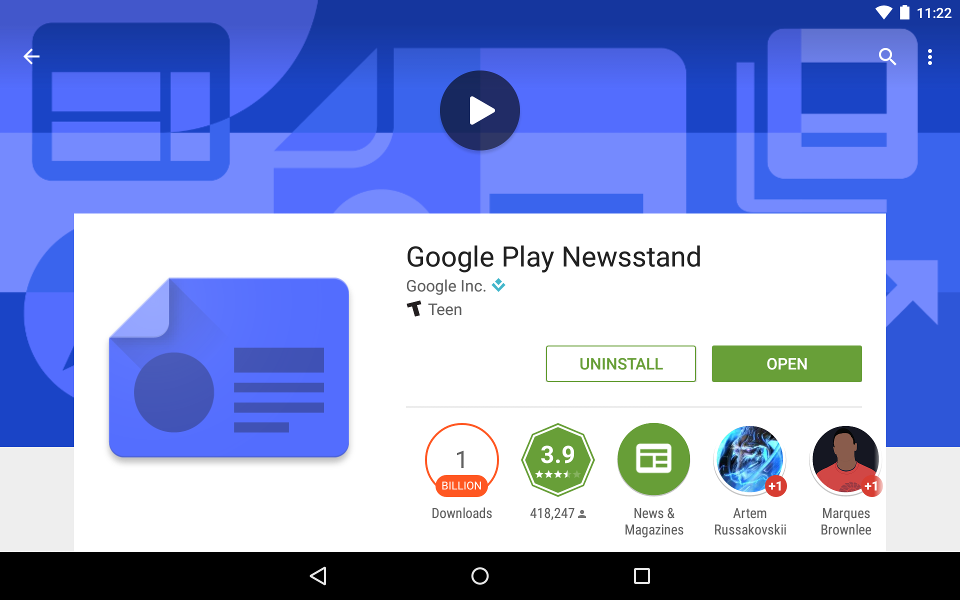 Google Play Newsstand Becomes 16th Android App To Reach 1