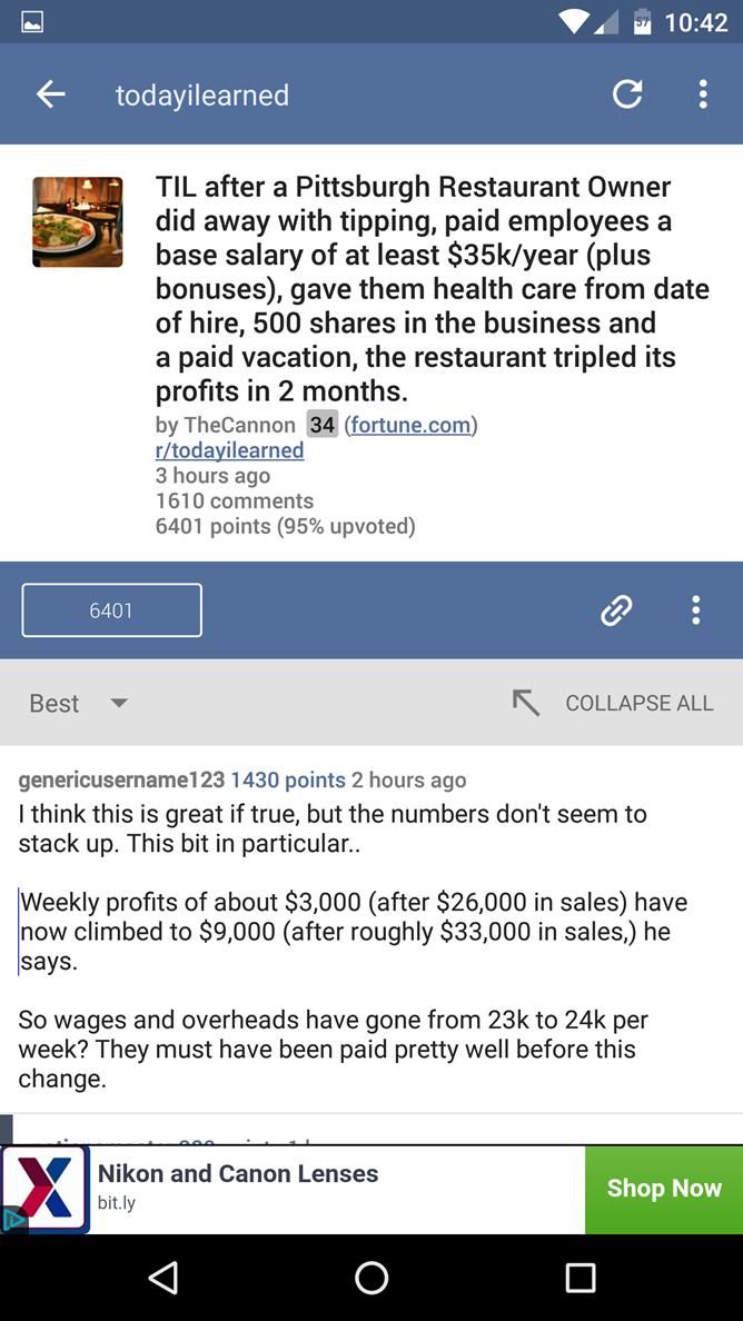 BaconReader For Reddit 5.0 Includes Material Design Update