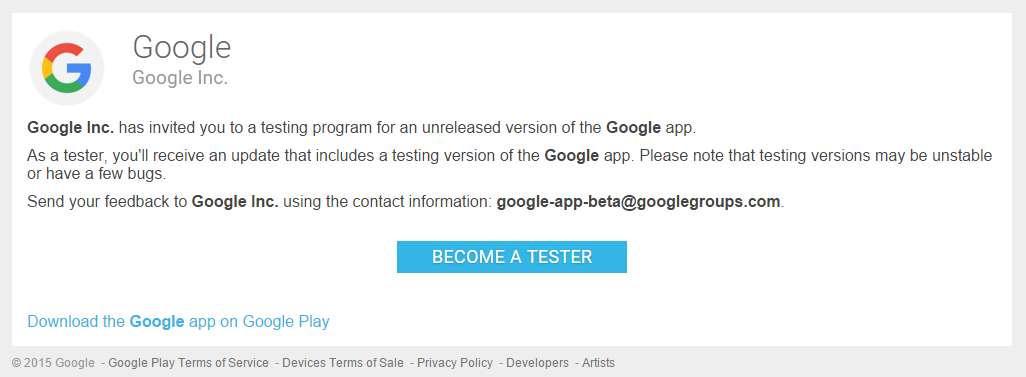 google launches official play store beta test for the google app