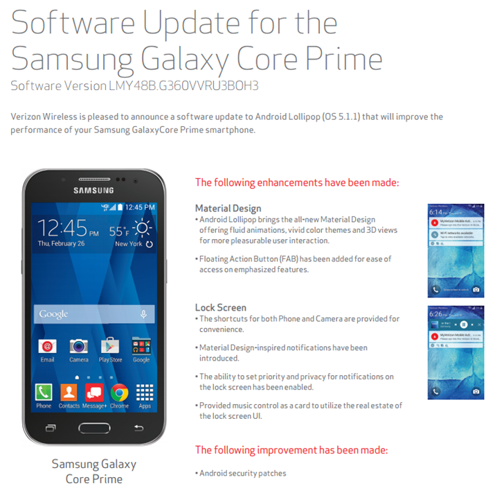 Samsung Updates Verizon's Galaxy Core Prime From Android 4