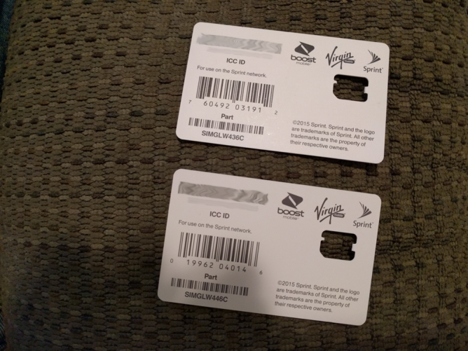 Sprint SIM Cards - Different UPC Codes