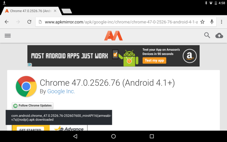 Chrome 47 Hits The Play Store, Brings Download Snackbar And