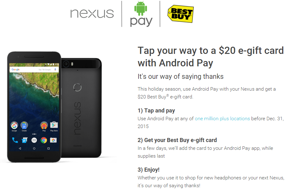 Deal Alert] Use Android Pay To Tap And Pay With A Nexus Before 12/31