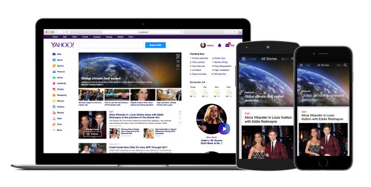 Yahoo app and homepage
