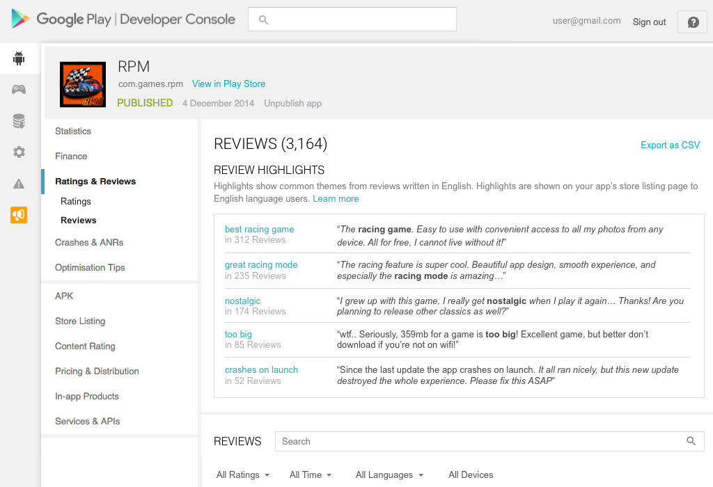 Google play developer console provides new tools for understanding user reviews - Google developer console android ...