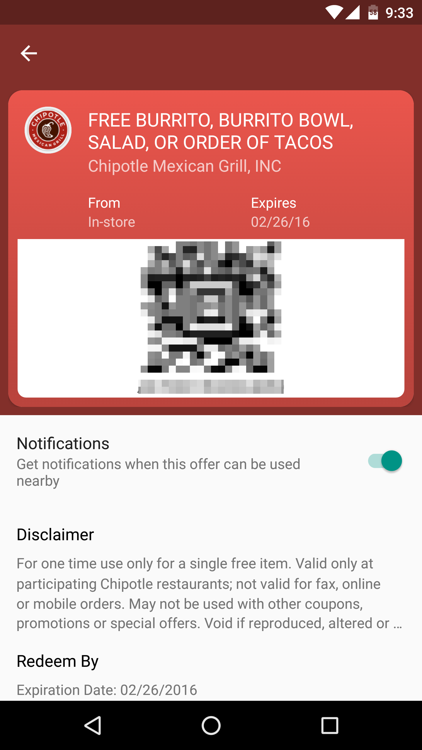 "Chipotle s Free Burrito Coupon Uses The ""Save To Android Pay"" Button"