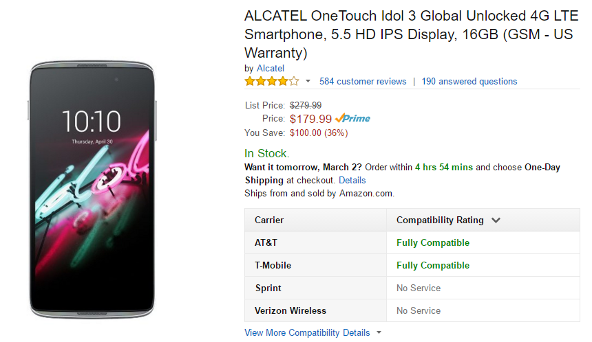 Deal Alert] Alcatel Idol 3 5 5-Inch Drops To $179 99 From