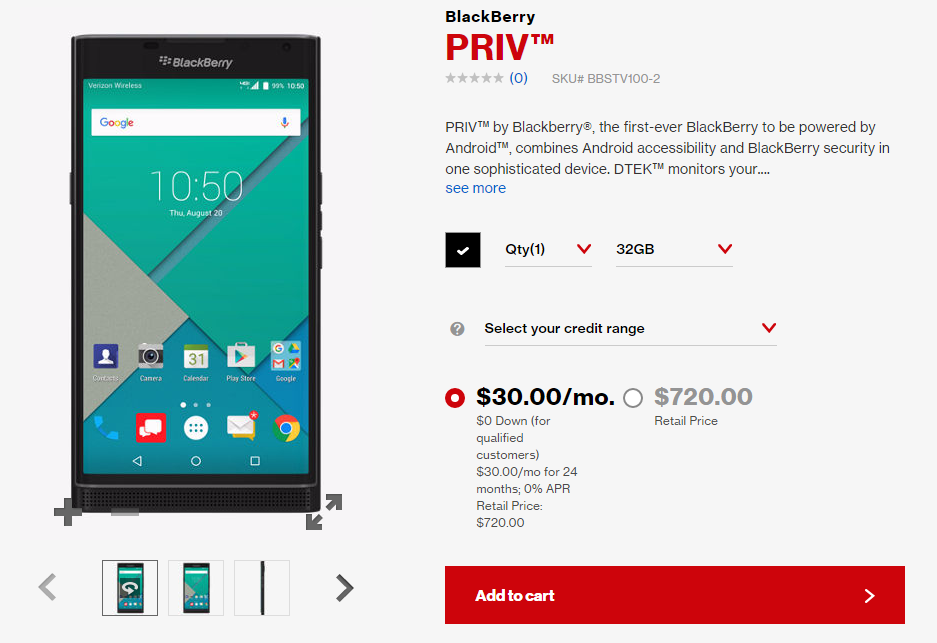 BlackBerry Priv Now Available From Verizon For $720 Or $30 Per Month