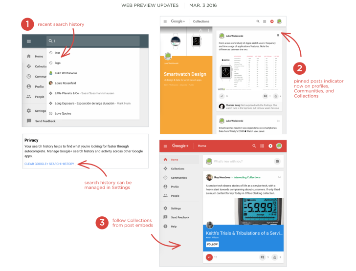 Google+ Web Preview Shows Recent Search History, Pinned