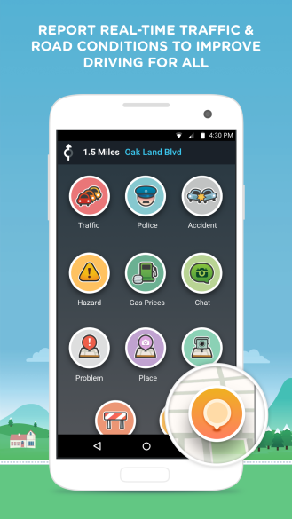 Waze Reporting Screen on Android (US)