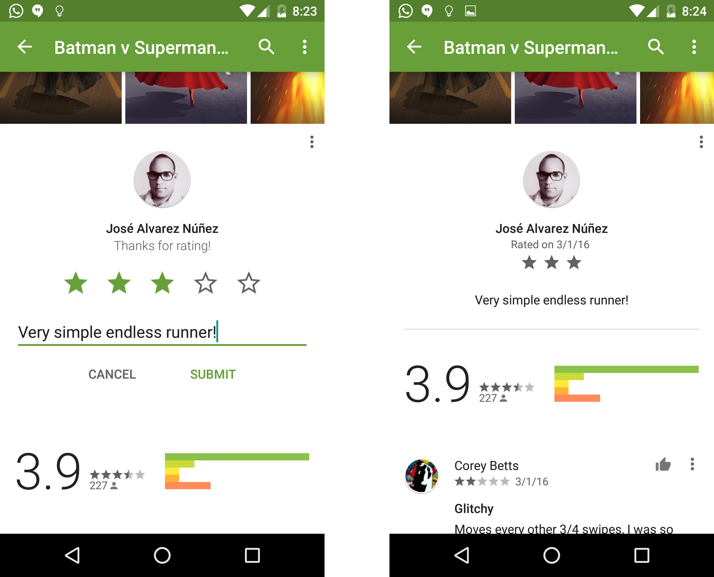 google appears to be testing a new simpler layout for ratings in