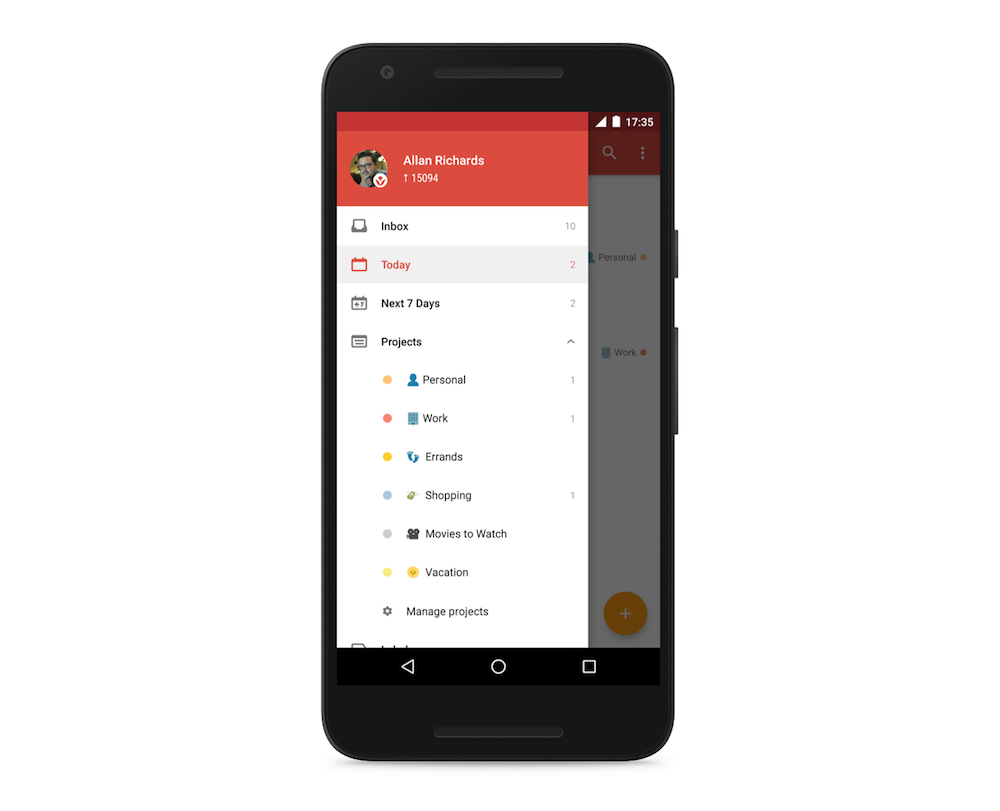 Todoist 9 for android improves intelligent input adds for Todoist project templates