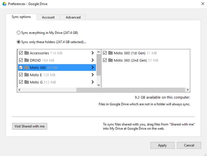 Google Drive will let users choose which folders to sync