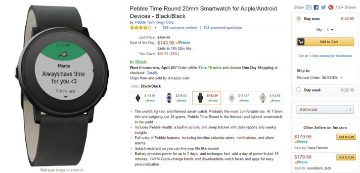 [Deal Alert] Pebble Time Round Gets A Nice Discount To ...