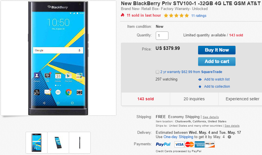 Deal Alert] Unlocked BlackBerry Priv On Sale For $379 99 Via