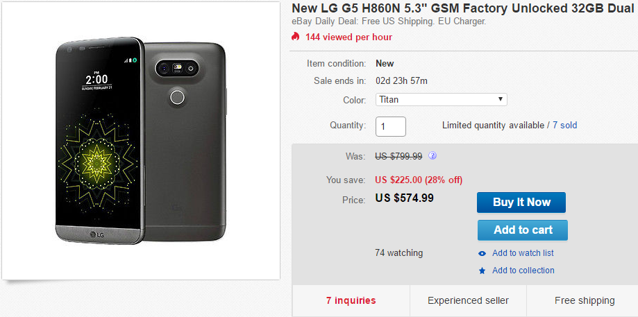 Deal Alert] Unlocked LG G5 (Dual SIM) On Sale For $574 99