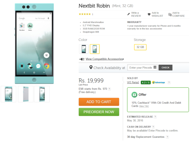 2016-05-26 12_44_58-Nextbit Robin 32 GB Mint Online at Best Price in India _ Flipkart.com
