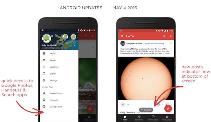 [APK Download] Google+ 7.8 Moves The 'New Posts' Notification To The Bottom, Adds Quick Access To Hangouts, Photos, And Search