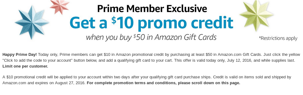 Prime Members Can Get 10 In Amazon Credit By Purchasing 50 In