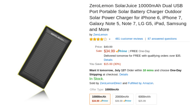Deal Alert Get A Zerolemon Solarjuice 10 000mah Portable