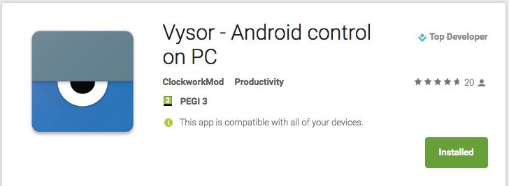 vysor apk free download for pc