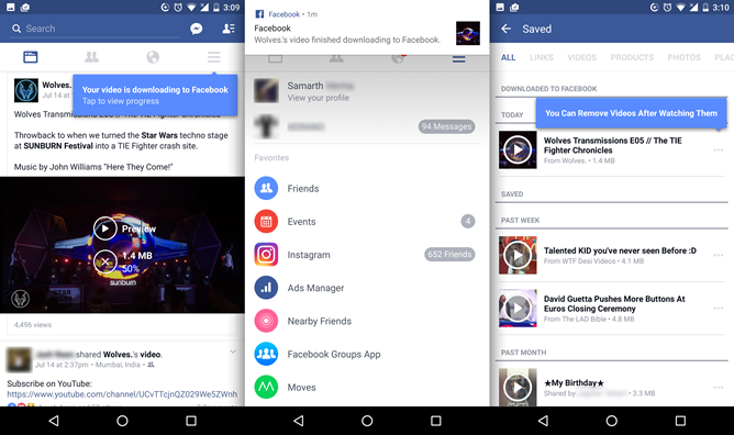 Facebooks android app can now save offline videos approximately 98 of the videos posted on facebook are ripped youtube clips with annoying aspect ratio destroying text on the top and bottom ccuart Gallery