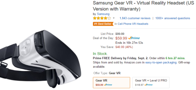 2016-08-31 09_32_07-Amazon.com_ Samsung Gear VR - Virtual Reality Headset (US Version with Warranty)