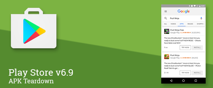 Play Store v6.9 includes sign of built-in app streaming, a VR purchase screen, a new API Level, and more [APK Teardown]