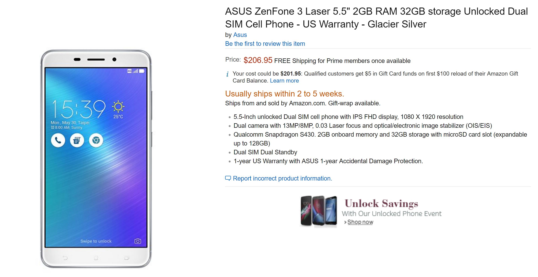 Asus ZenFone 3 Deluxe, ZenFone 3 Laser Now Available On Amazon US