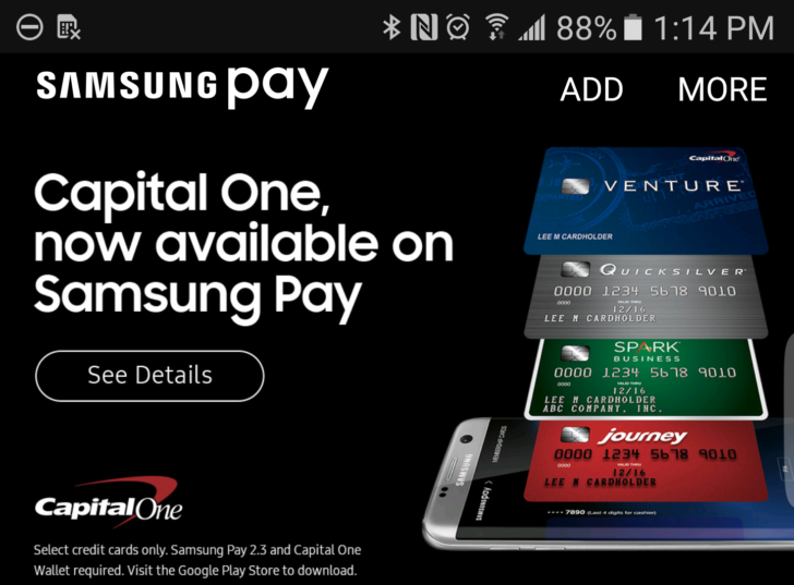 Samsung Pay gets support for Capital One credit cards