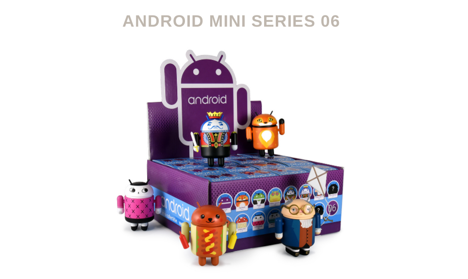 Dead Zebra Android Mini Series 06 is now available with Ben Franklin, Purple, Hot Dog, along with new collectible pins