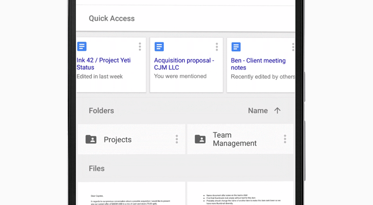Google Drive adds Quick Access feature, guesses what file you might want
