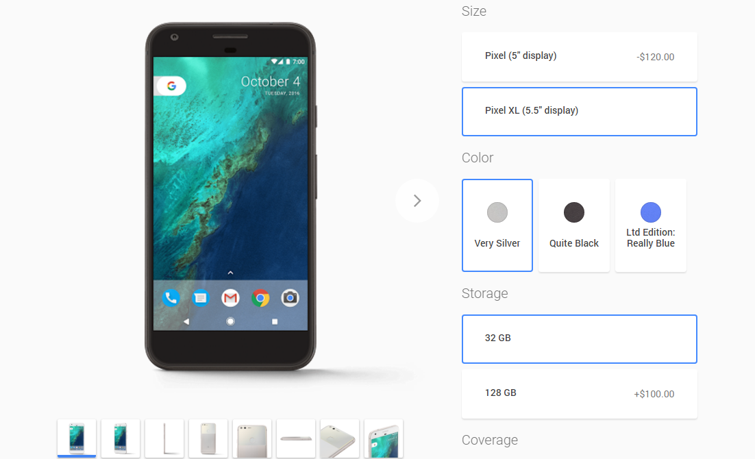 Pixel and Pixel XL pre-orders are live on the Google Store