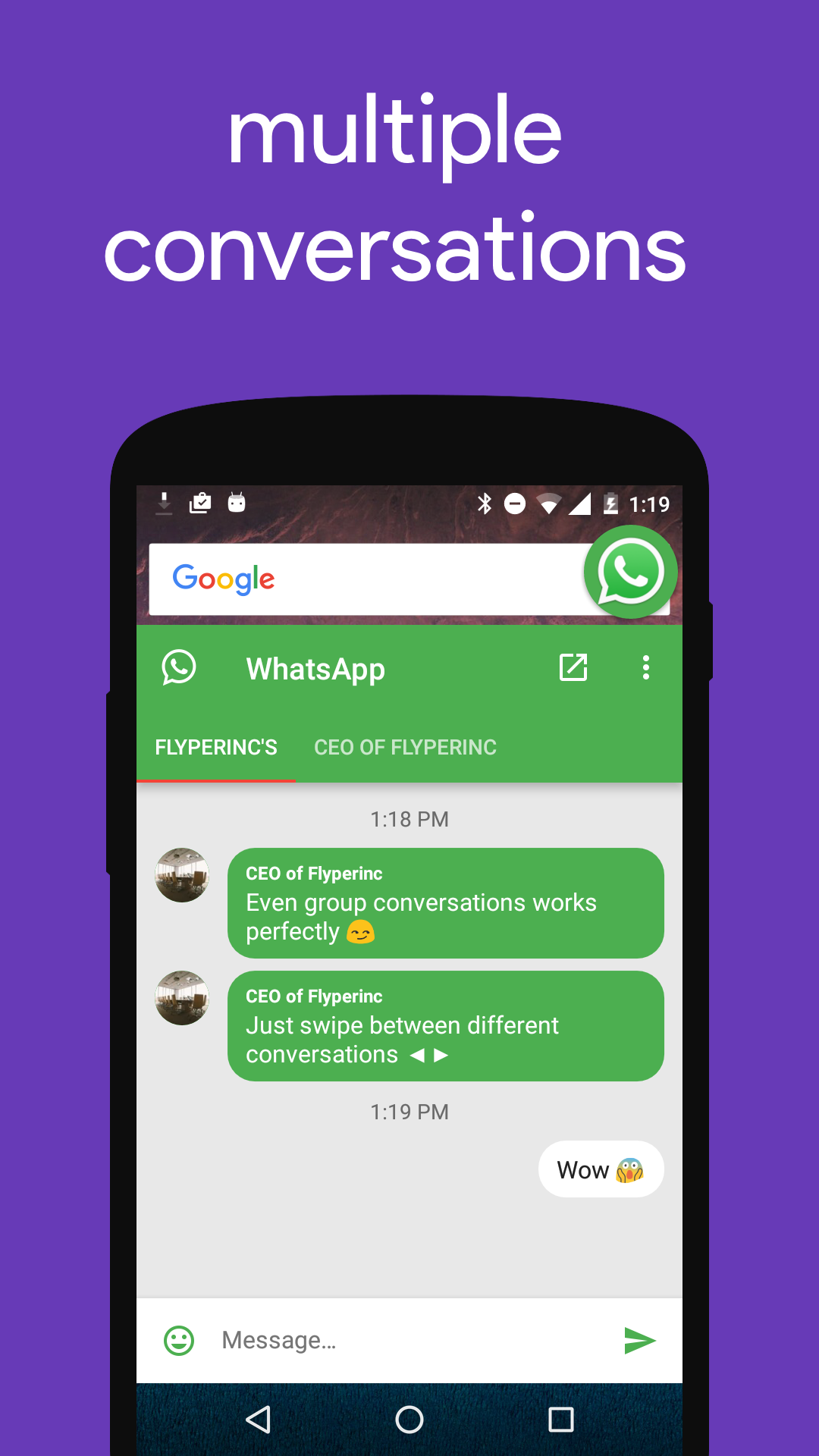 flychat adds chat head like bubbles to hangouts telegram whatsapp