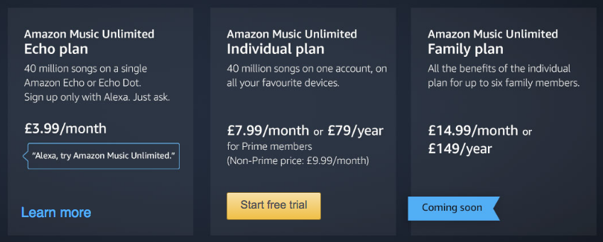 Update Now In The Uk Amazon Introduces Music Unlimited At 999