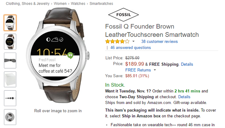 Deal Alert: Fossil Q Founder smartwatch only $190 ($85 off) on Amazon