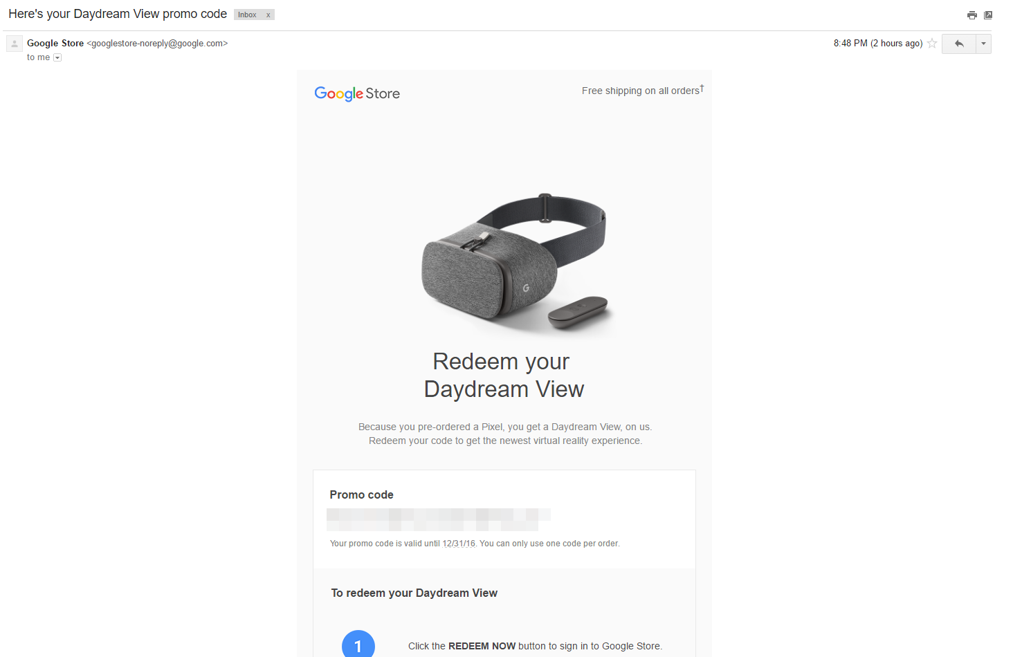 Codes for free Daydream View VR headsets are going out for