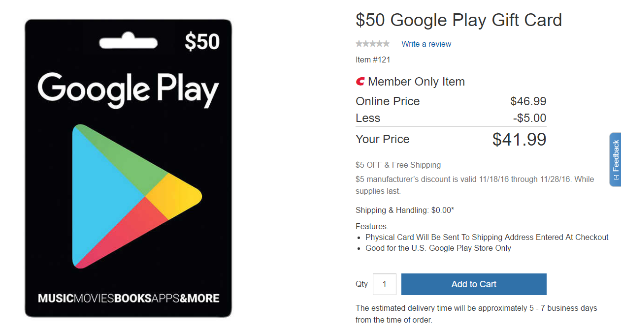 deal alert] costco members can get a $50 play store gift card for