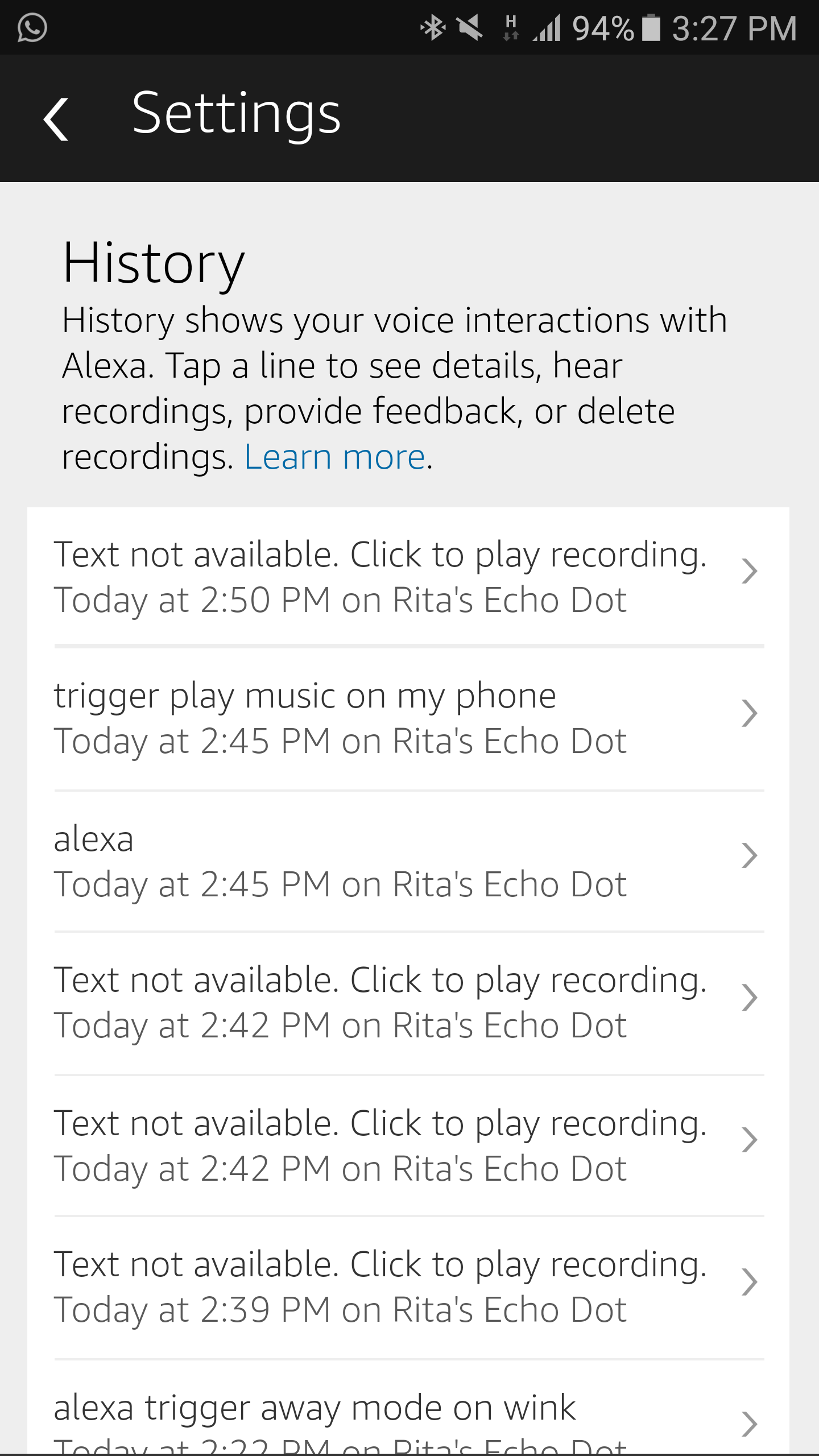 how to delete history on alexa on android